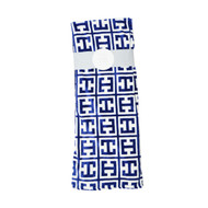 "Indigo Blue and White Soft and Plush Fleece Throw Blanket: Geometric Design, 50"" x 70"""
