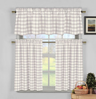 3 Piece Plaid, Checkered, Gingham Kitchen Curtain Set: 35% Cotton, 1 Valance, 2 Tier Panels, Rod Pocket (Lilac)