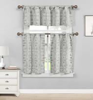Gray 3 Piece Jacquard Window Curtain Set: Botanical Design, 2 Tiers, 1 Valance
