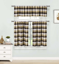 Brown Three Piece Kitchen/Cafe Tier Window Curtain Set: Large Gingham Check Pattern, Cotton Blend Fabric