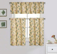 Cotton Blend 3 Piece Kitchen/Cafe Tier Window Curtain Set: Botanical Herb Design
