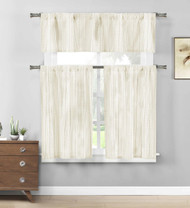 Three Piece Cotton Rich Kitchen/Cafe Tier Window Curtain Set: Striped Pattern (Linen)