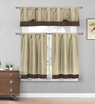 Linen Three Piece Kitchen/Cafe Tier Window Curtain Set: Chocolate Brown border accent