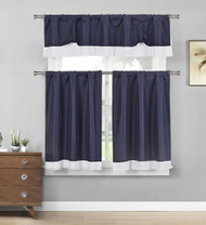 Navy Three Piece Kitchen/Cafe Tier Window Curtain Set: Crisp White border accent
