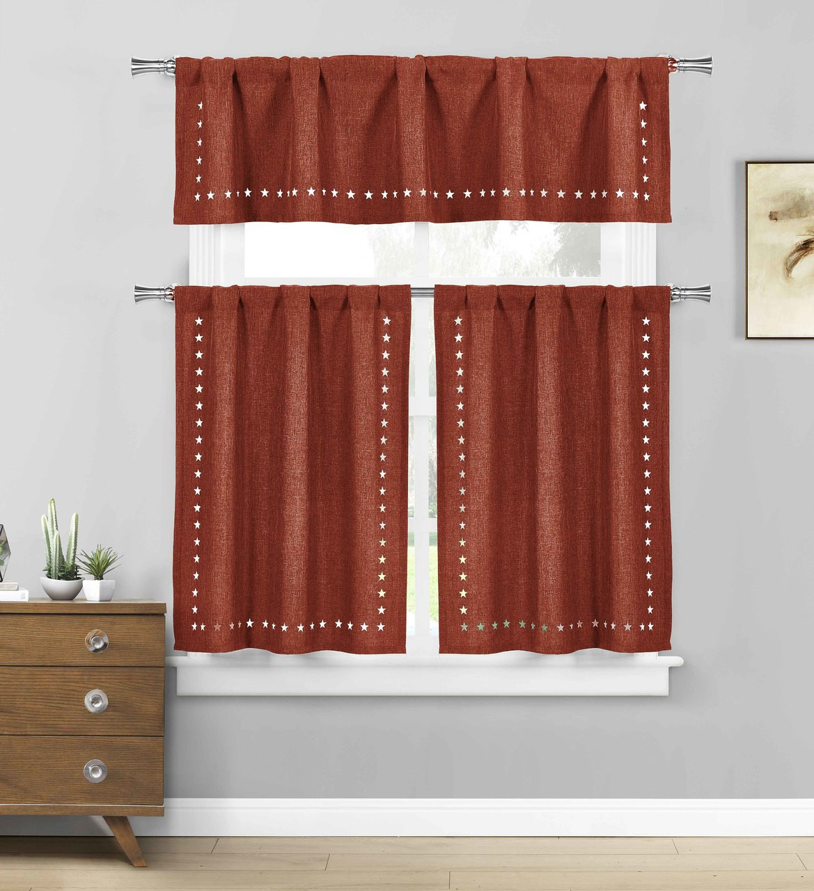 Burgundy 3 Pc Kitchen Cafe Tier Window Curtain Set Stars Cut Out Pattern Bathroom And More