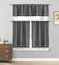 Gray 3 Pc. Kitchen/Cafe Tier Window Curtain Set: Stars cut-out Pattern