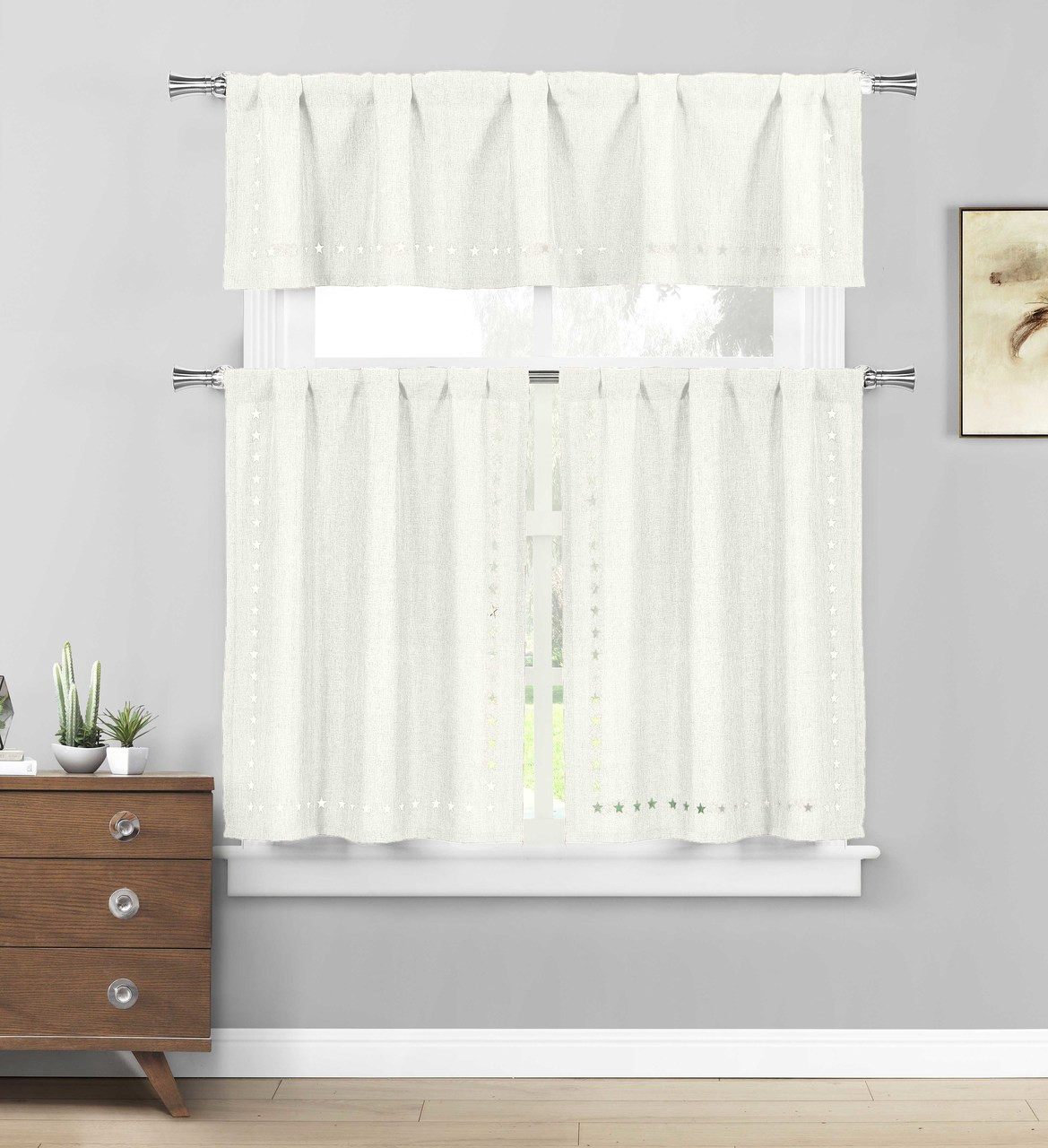 White 3 Pc Kitchen Cafe Tier Window Curtain Set Stars