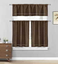 Brown 3 Pc, Kitchen/Cafe Tier Window Curtain Set: Stars cut-out Pattern