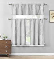 Black 3 Pc. Cotton Rich Kitchen/Cafe Tier Window Curtain Set: Striped Pattern
