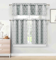 Gray 3 Piece Kitchen/Cafe Tier Window Curtain Set: Moroccan Trellis/Tile Design
