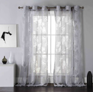 "Set of Two (2) Gray Cotton Blend Sheer Window Curtain Panels: Burnout Floral Design, Silver Grommets, Extra Wide 110"" x 84"""