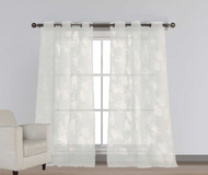 "Set of Two (2) Off-White Cotton Blend Sheer Window Curtain Panels: Burnout Floral Design, Silver Grommets, Extra Wide 110"" x 84"""