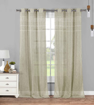Set of Two (2) Sheer Grommet Window Curtain Panels: Linen with White Stripes and Tufts, 76W x 84L (Linen)