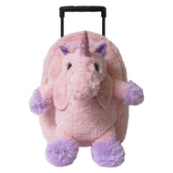 2-in-1 Kids Plush Rolling Suitcase/Backpack with Stuffed Animal: Pink Unicorn with Removable Plush Toy