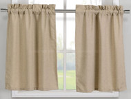 Linen Colored Faux Cotton Kitchen Window Curtain Panel Set: 2 Cafe/Tier Panel Curtains