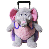 2-in-1 Kids Plush Rolling Suitcase/Backpack with Stuffed Animal: Gray Elephant Plush Toy with Removable Pink/Purple Bag