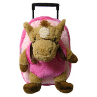 2-in-1 Kids Plush Rolling Suitcase/Backpack with Stuffed Animal: Plush Toy Brown Horse with Removable Pink Bag
