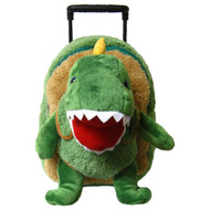 2-in-1 Kids Plush Rolling Suitcase/Backpack with Stuffed Animal: T-Rex with Removable Plush Toy