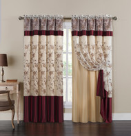"Burgundy Double Layer Embroidered Window Curtain: Floral Design, Attached Valance, 55""x90"", One Panel"