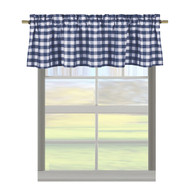 "Cotton Rich Gingham Check Kitchen Window Curtain Valance: Plaid, 58""W x 15""H (Navy)"