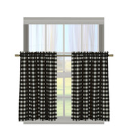 "Black Gingham Check Kitchen Window Curtain Cafe/Tiers Set: Plaid, Cotton Rich, 29""W x 36""H Each Panel"