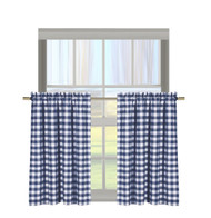 "Navy Gingham Check Kitchen Window Curtain Cafe/Tiers Set: Plaid, Cotton Rich, 29""W x 36""H Each Panel"