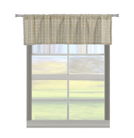 Natural Cotton Blend Taupe Beige and Linen Kitchen Window Curtain Valance: Plaid Design , Size: 56in W x 15in L