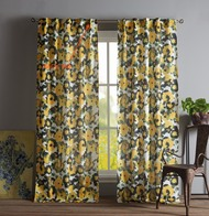 Pole Top Window Curtain Panel Pair with Back Tab Yellow floral Design 76 IN X 84 IN