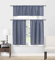 Natural Cotton Blend 3 Piece Kitchen Window Curtain/Cafe Tiers Set: Plaid, 1 Valance, 2 Tier Panels (Navy)