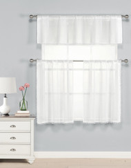 Three Piece Kitchen/Cafe Tier Window Curtain Set: Sheer White with Pom-Pom design, 1 Valance, 2 Tier Panels (White)