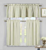 Three Piece Cotton Rich Kitchen/Cafe Tier Window Curtain Set: Striped pattern, One Valance, two Tiers (Sage Green, Taupe and Beige)