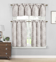 3 piece Cafe Tiers Window Curtain Set: Botanical Design, One Valance, Two Tiers (Mocha and Ivory)