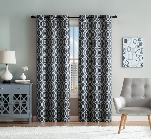 set of two denim blue and ivory (2) window curtain panels