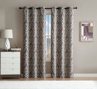"Set of Two (2) Window Curtain Panels: Scroll Design, 76""W x 84""L (Chocolate and Ivory)"