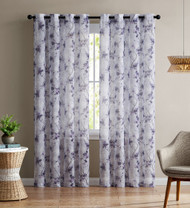 "Single (1) Sheer Window Curtain Panel: Grommets, Floral Design 54""W x 90""L (Purple and White)"