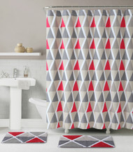 3 Pc. Bath Set: Shower Curtain and 2 Mats, Triangle Geometric Design, Red, Taupe and Gray, 100% Cotton