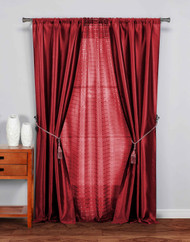 "5 Pc Complete Window Treatment Set: 2 Faux Silk Panels, 1 Sheer Panel, 2 Rope Tie Backs 74""W x 84""L (Garnet)"