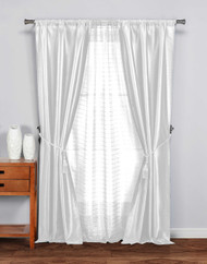 "5 Pc Complete Window Treatment Set: 2 Faux Silk Panels, 1 Sheer Panel, 2 Rope Tie Backs 74""W x 84""L (White)"