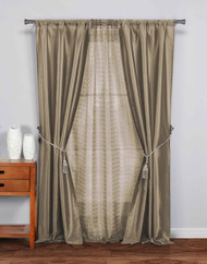 "5 Pc Complete Window Treatment Set: 2 Faux Silk Panels, 1 Sheer Panel, 2 Rope Tie Backs 74""W x 84""L (Taupe)"
