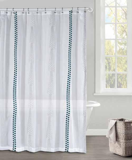 White Gray And Dark Teal Faux Linen Textured Sheer Fabric Shower