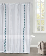 White Gray and Dark Teal Faux Linen Textured Sheer Fabric Shower Curtain Embroidered Geometric Design 70 x 72 in