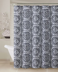 "Gray, Black and White Fabric Shower Curtain with Printed Geometrical Design, 72"" x 72"""