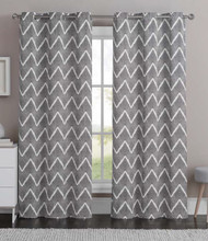 "Charcoal Gray Single (1) Cotton Rich Window Curtain Panel with Chevron Zig-Zag Design, 40""W x 84""L"