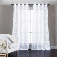 "Single (1) Pure White Cotton Blend Sheer Window Curtain Panel: Burnout Bird and Branch Design, Silver Grommets, Extra Wide 55"" x 84"""