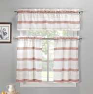 Coral, Off-White and Beige 3 Piece Kitchen Window Curtain Set: 1 Valance, 2 Tiers