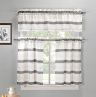 Gray, Off-White and Beige 3 Piece Kitchen Window Curtain Set: 1 Valance, 2 Tiers