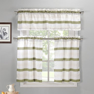 Sage, Off-White and Beige 3 Piece Kitchen Window Curtain Set: 1 Valance, 2 Tiers