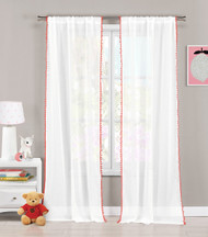"""Set of Two (2) Sheer Pole Top Window Curtain Panels: Pure White with Coral pom-poms, 76"""" x 84"""" (Coral)"""