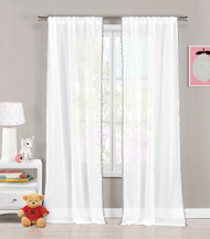 "Single (1) Sheer Pole Top Window Curtain Panel: Pure White with Gray pom-poms, 38"" x 84"" (Gray)"