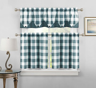 Sheer Small Dark Teal and White Three Piece Kitchen/Cafe Tier Window Curtain Set Gingham Check Pattern, 1 Valance, 2 Tiers 24inch L (Dark Teal and White)